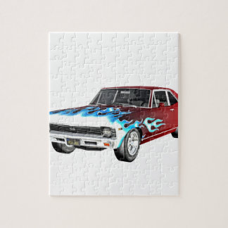 1968 rotes weißes und blaues Muskel-Auto Puzzle