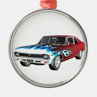 1968 rotes weißes und blaues Muskel-Auto Silbernes Ornament
