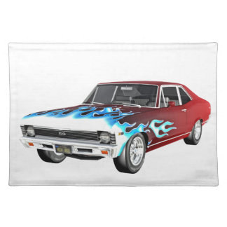 1968 rotes weißes und blaues Muskel-Auto Tischset