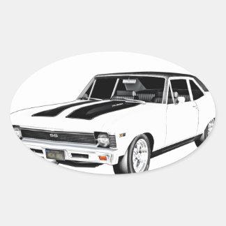 1968 Weiß-Muskel-Auto Ovaler Aufkleber