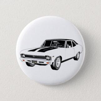 1968 Weiß-Muskel-Auto Runder Button 5,7 Cm