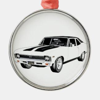 1968 Weiß-Muskel-Auto Rundes Silberfarbenes Ornament