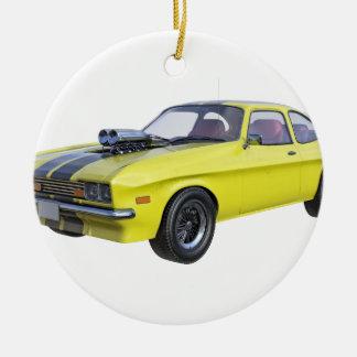 1970 Muskel-Auto-Gelb mit schwarzem Streifen Keramik Ornament