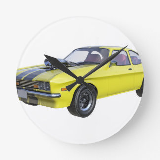 1970 Muskel-Auto-Gelb mit schwarzem Streifen Runde Wanduhr