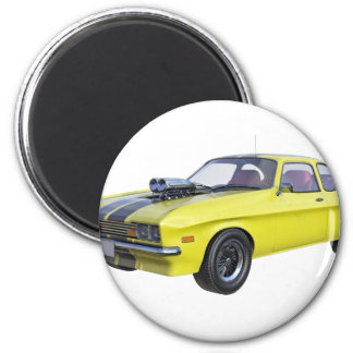 1970 Muskel-Auto-Gelb mit schwarzem Streifen Runder Magnet 5,1 Cm