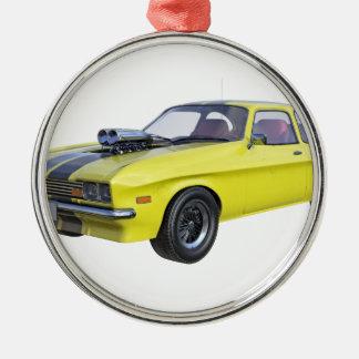 1970 Muskel-Auto-Gelb mit schwarzem Streifen Silbernes Ornament