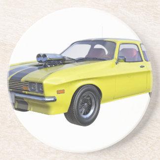 1970 Muskel-Auto-Gelb mit schwarzem Streifen Untersetzer