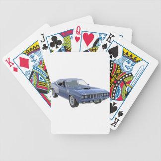 1971 Blau-Muskel-Auto Bicycle Spielkarten