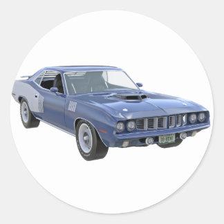 1971 Blau-Muskel-Auto Runder Aufkleber