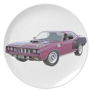 1971 lila Muskel-Auto Melaminteller
