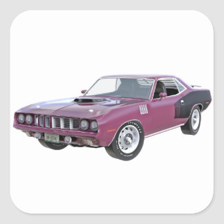 1971 lila Muskel-Auto Quadratischer Aufkleber