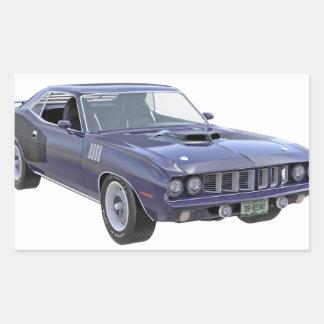 1971 Muskel-Auto in Lila Rechteckiger Aufkleber