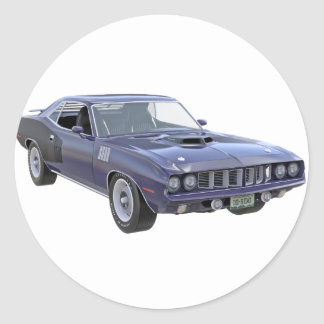 1971 Muskel-Auto in Lila Runder Aufkleber