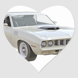 1971 Weiß-Muskel-Auto Herz-Aufkleber