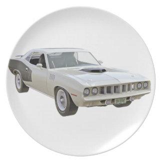 1971 Weiß-Muskel-Auto Melaminteller