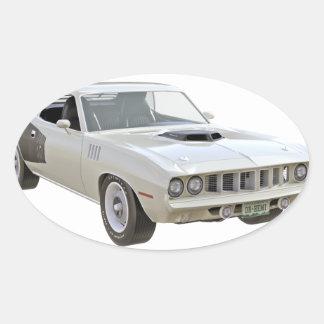 1971 Weiß-Muskel-Auto Ovaler Aufkleber