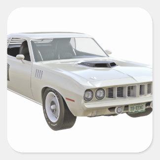 1971 Weiß-Muskel-Auto Quadratischer Aufkleber