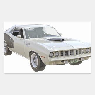 1971 Weiß-Muskel-Auto Rechteckiger Aufkleber