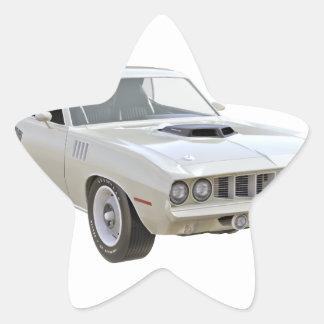 1971 Weiß-Muskel-Auto Stern-Aufkleber