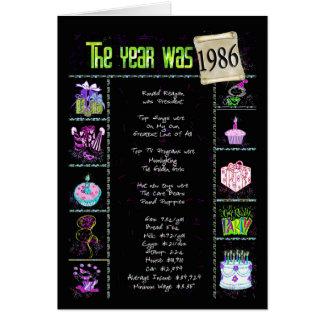 1986 Geburtstags-Spaß-Tatsachen Karte