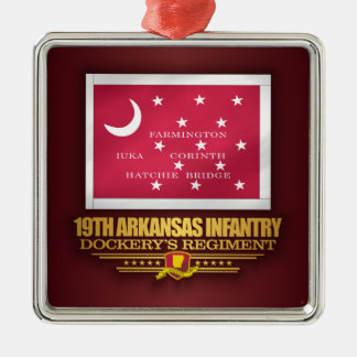 19. Arkansas-Infanterie (F10) Silbernes Ornament
