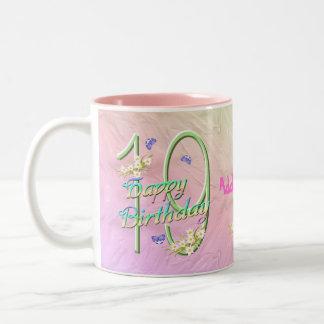 19. Geburtstags-Schmetterlings-Garten-Tasse Zweifarbige Tasse