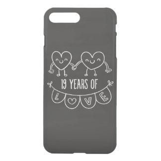 19. Jahrestags-Geschenk-Kreide-Herzen iPhone 8 Plus/7 Plus Hülle