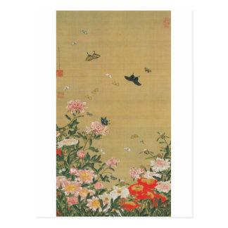 1 芍薬群蝶図 若冲 Blume und Schmetterling Jakuchu Postkarten