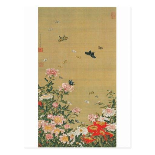 1. 芍薬群蝶図, 若冲 Blume und Schmetterling, Jakuchu Postkarten
