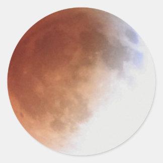 1:06 morgens der Mondeklipse (13) am 15. April Runder Aufkleber