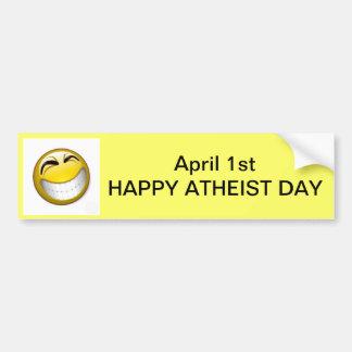 1. April - GLÜCKLICHER ATHEISTISCHER TAG Autoaufkleber
