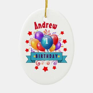 1. BABY Geburtstags-festliche bunte Ballone V10IZ3 Ovales Keramik Ornament