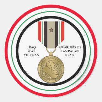 1 DER KAMPAGNEN-STERN-IRAK-KRIEGSVETERAN RUNDER AUFKLEBER
