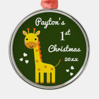 1. erstes Geschenk des Spaß-Giraffen-Babys Silbernes Ornament