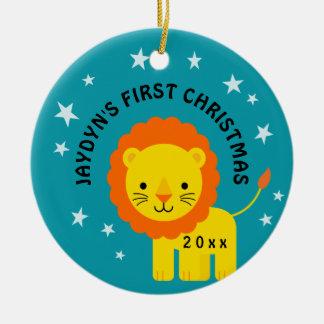 1. erstes Geschenk des Spaß-Löwe-Babys Weihnachts Keramik Ornament