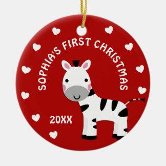 1. erstes Geschenk des Spaßzebra-Herz-Babys Keramik Ornament