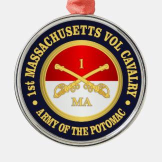1. Freiwillige Kavallerie Massachusetts Silbernes Ornament