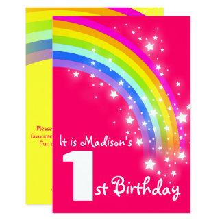 1. Geburtstag des Kinderlila Regenbogens laden ein Karte
