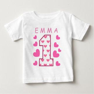 1. Geburtstag einer mit Herz-individuellem Namen Baby T-shirt