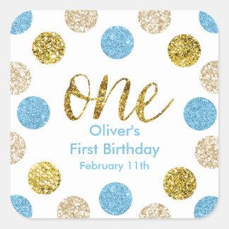 1. Geburtstag-Licht Blau-und GoldGlitter Quadratischer Aufkleber