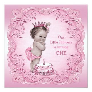1. Geburtstag Party rosa Vintager Prinzessin- Quadratische 13,3 Cm Einladungskarte