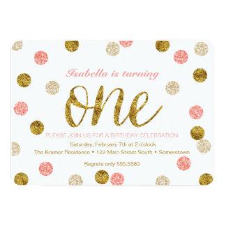1. Geburtstag-Rosa und GoldGlitter 12,7 X 17,8 Cm Einladungskarte