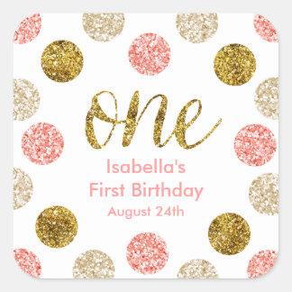 1. Geburtstag-Rosa und GoldGlitter Quadratischer Aufkleber