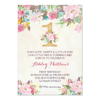 1. Geburtstag ZUERST schöne Blumeneinladung, 12,7 X 17,8 Cm Einladungskarte