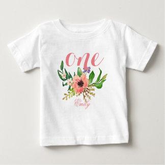 1. Geburtstags-Aquarell BlumenPersonalized-3 Baby T-shirt