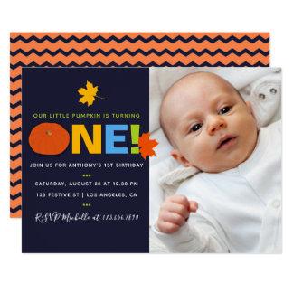 1. Geburtstags-Baby-Junge, den wenig Kürbis-Party Karte