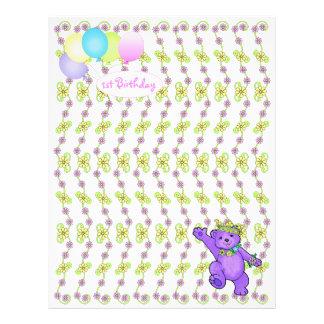 1. Geburtstags-Bärn-kundenspezifisches Einklebebuc 21,6 X 27,9 Cm Flyer