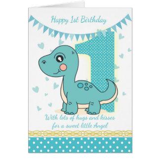 1. Geburtstags-blaue Dinosaurier-Karte, Babys 1. Grußkarte