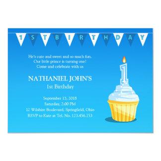 1. Geburtstags-blaues Kuchen-Party - Baby-Junge 11,4 X 15,9 Cm Einladungskarte