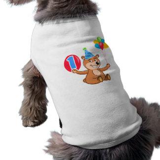 1 Geburtstags-Braunbär-Ballone Hund T-shirt